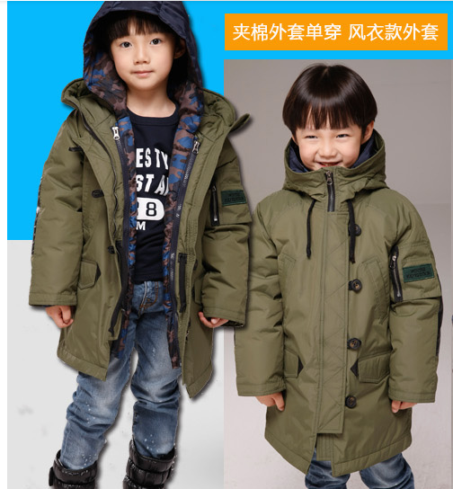 4 - 16 years 2 piece children's winter clothing sets thick windproof outer jacket + liner down jacket warmly boys winter jacket(China (Mainland))