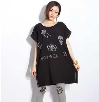 Chiffon shirt mm plus size chiffon short-sleeve shirt xxxl plus size chiffon long t-shirt