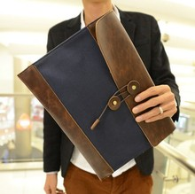 Free shipping new 2014 Men's fashion commercial envelope briefcase, File bag,  Black Blue Khaki color  5137(China (Mainland))