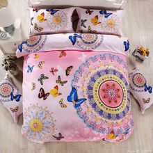 Boho bohemian style butterfly bedding sets girls bright red blue purple bed linen moon love guitar duvet cover set queen size(China (Mainland))