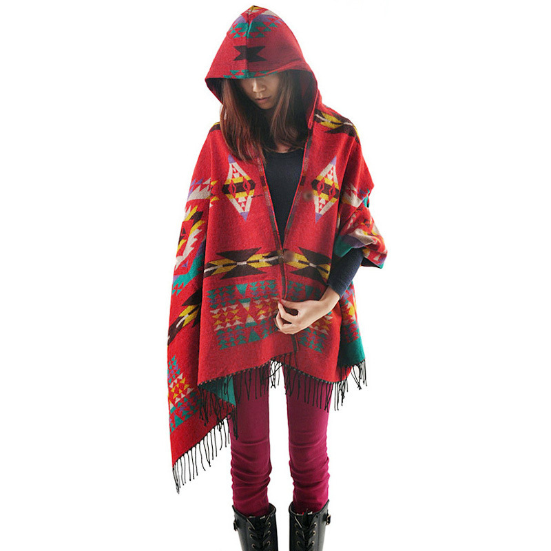 Women Scarves And Stoles Winter Bohemia Folk Style Blanket Scarf Hooded Poncho And Cape Pashmina Shawl And Scarves(China (Mainland))