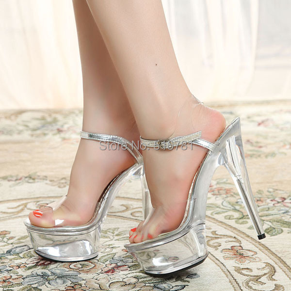 SALE 2015 Elegant Women's Shoes Crystal Wedding Shoes Sexy 15cm High Heels Sandals Transparent sexy Dance shoes Free Shipping(China (Mainland))