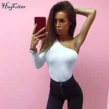 Hugcitar хлопок одно плечо наклонный вырез боди один длинный рукав 2018 осень женский сексуальный черный сплошной купальник женский(China)