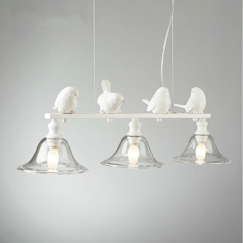 Nordic 3 lights resin bird white color modern pendant lamp indoor lighting fixture for dinning room