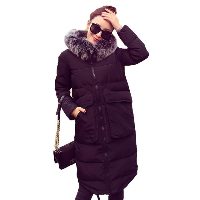 2016 Зимнее Пальто женщин Ультра Длинный Пуховик Белая Утка Вниз Куртка с Меховым Капюшоном