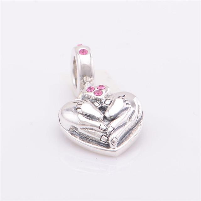 S925 стерлингового серебра Jewerly в форме сердца качает с камнями камни бусины DIY выводы ввбр женщины подходит пандора Chamilia подвески браслеты
