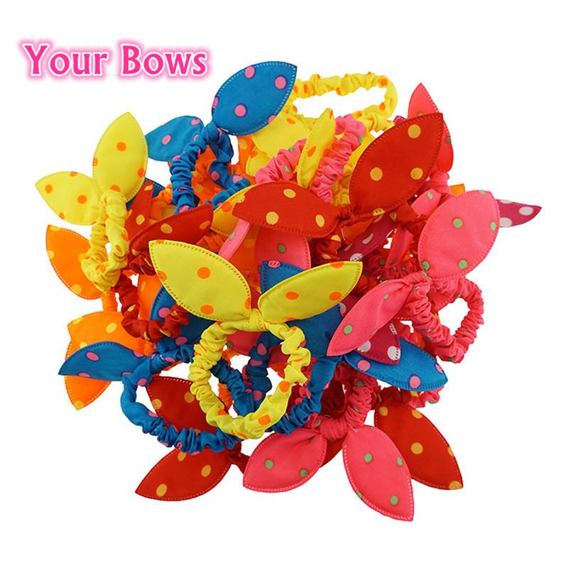 Your Bows 1PC Cute Baby Girl Elastic Hair Bands Polka Dot Bow Rabbit Ears Elastic Hair Rope Ponytail Holder Hair Accessories(China (Mainland))