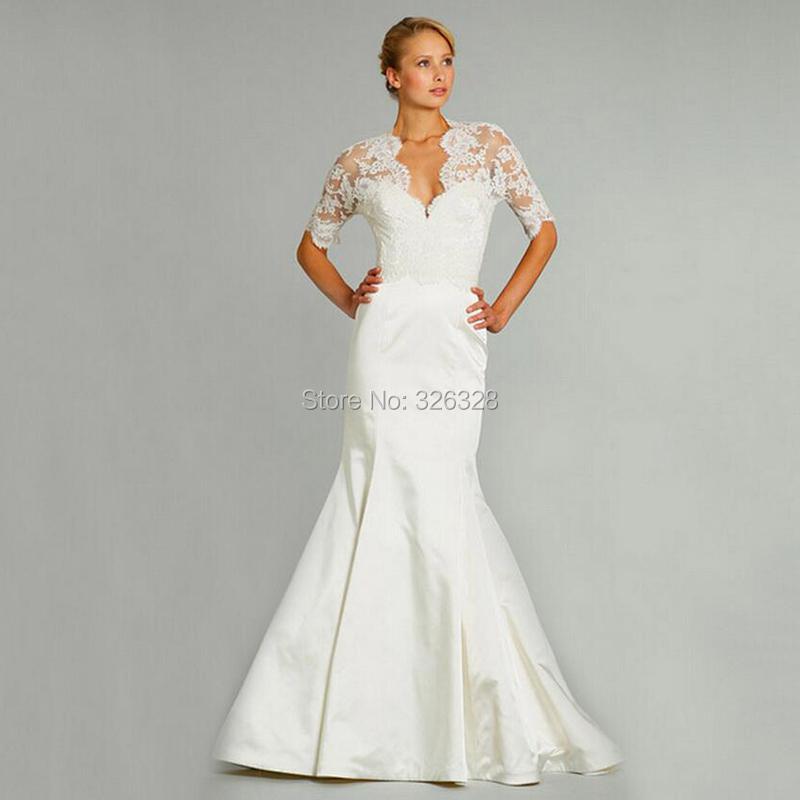 Elegant Mermaid Satin V Neck Half Sleeve Plus Size Wedding Dresses 2016 New Fashion Sheer Top Ivory Charmeuse Bridal Gowns(China (Mainland))