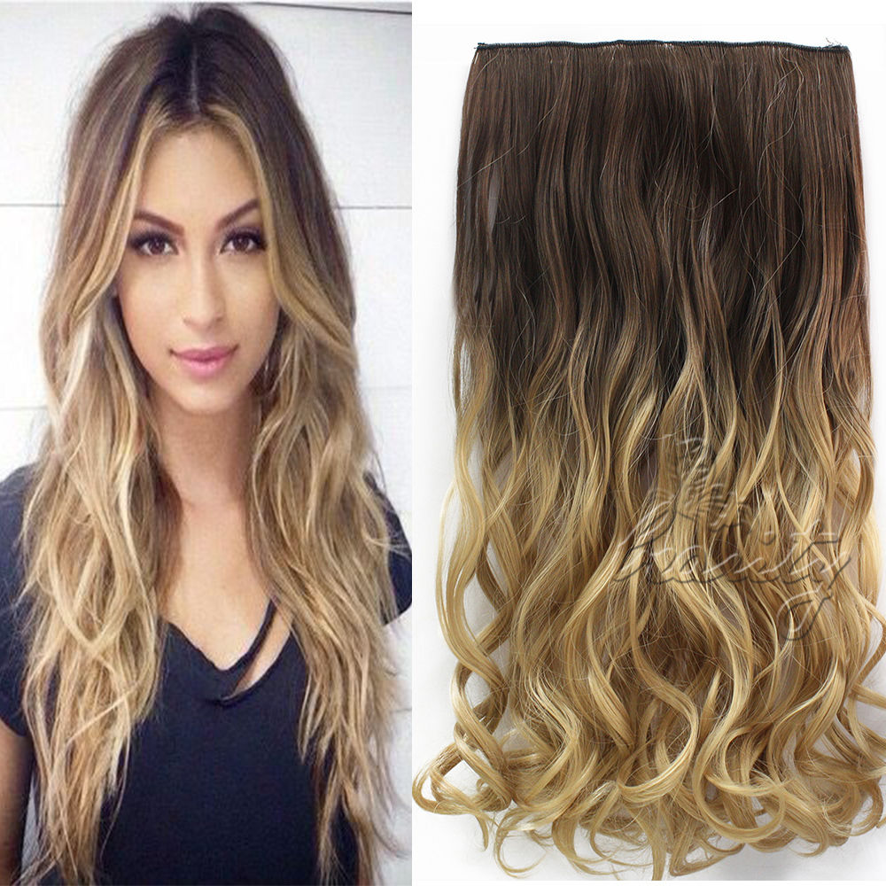 """24"""" 60cm Wavy Curly Extension 5 Clip De Cheveux Ombre Piece Hair Extensions Cosplay Style Chocolate Brown to Sandy Blonde B40"""