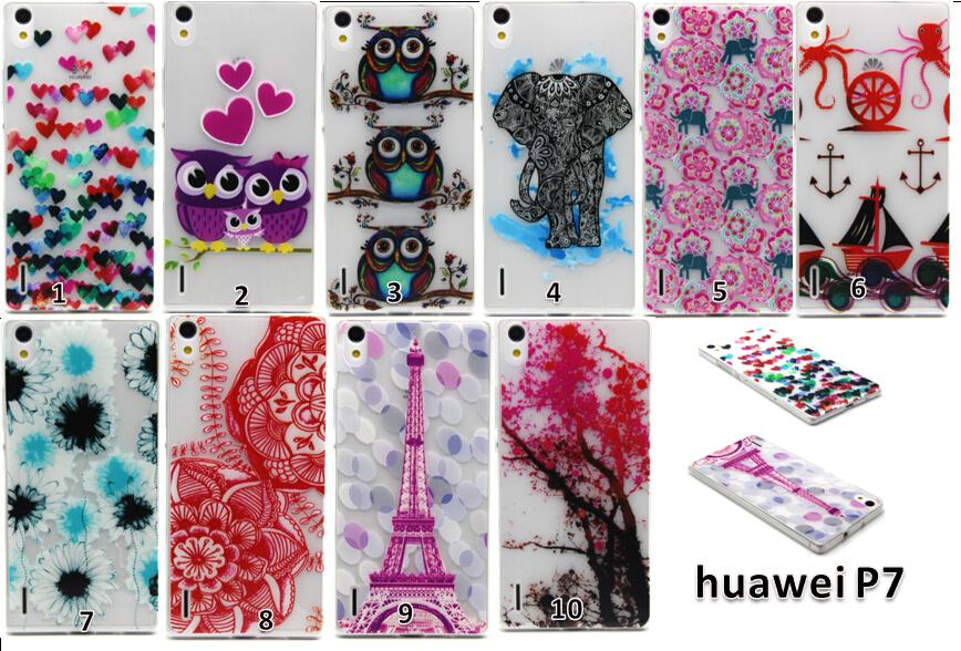 Huawei p7 TPU Case 10 style High Grade owl elephant love heart flower tower Soft TPU IMD thin Back Cover Case huawei p7 tpu case(China (Mainland))