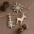 3 SET LOT Wooden Christmas Tree Hanging DECORATION Santa Claus Xmas Ornaments Home Decor Moose Pendant