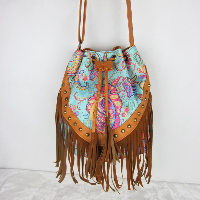 2015 New Fashion Tassel Mini Women Bags Ladies Casual Canvas Fringe Satchel Crossbody Messenger Shoulder Bag(China (Mainland))