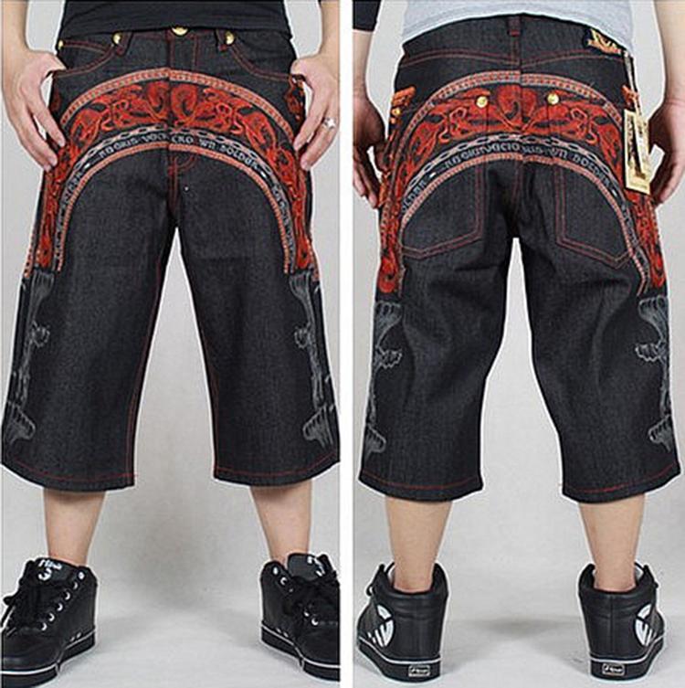 2015 Latest design summer men baggy black jeans hip hop loose short summer trousers loose style rap jeans for boy fat big size(China (Mainland))