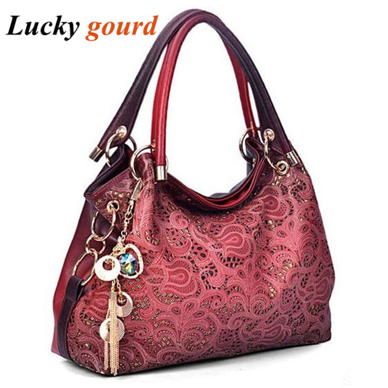 Brand Women Bag Hollow Out Ombre Handbag Floral Print Shoulder Bags Ladies PU Leather Tote Bag Red/Gray/Blue/Pink Z551(China (Mainland))
