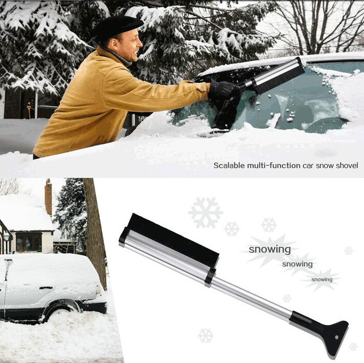 Extendable Telescoping Snow Brush – Ice Scraper for Car, Retracts From 65 to 43 cm for Easy Storage – Reaches Entire Windshield