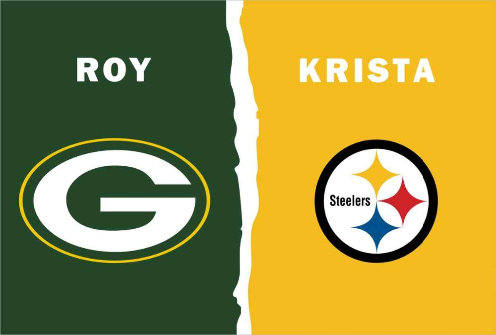 Green Bay Packers VS Pittsburgh Steelers flag 100D polyester digital printed banner 150x90cm(China (Mainland))