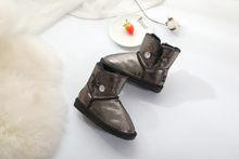 Yeni çocuk avustralya pullu cilt inek deri kar botları doku erkek kız kış sıcak peluş kısa çizmeler su geçirmez çocuk ayakkabı(China)