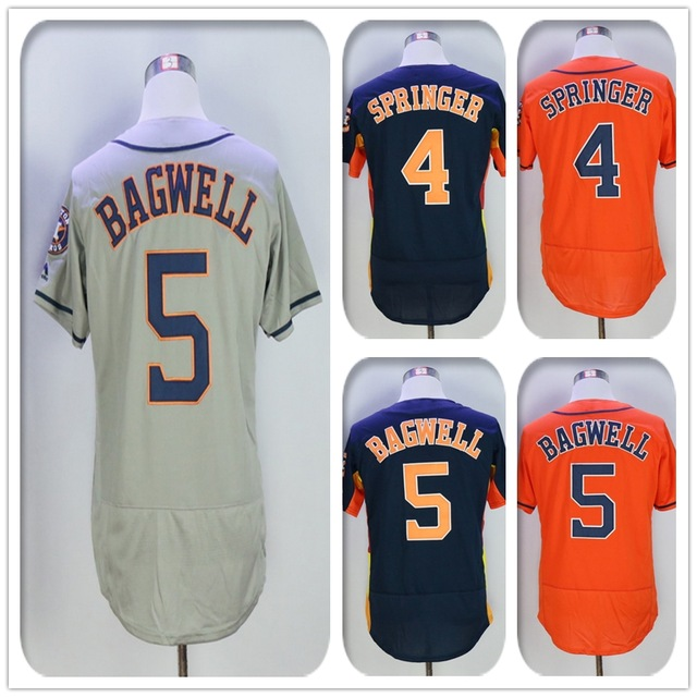 New Fabric Mens Flexbase Version #4 George Springer #5 Jeff Bagwell Jersey Color Gray Navy Rainbow Orange White Jerseys(China (Mainland))