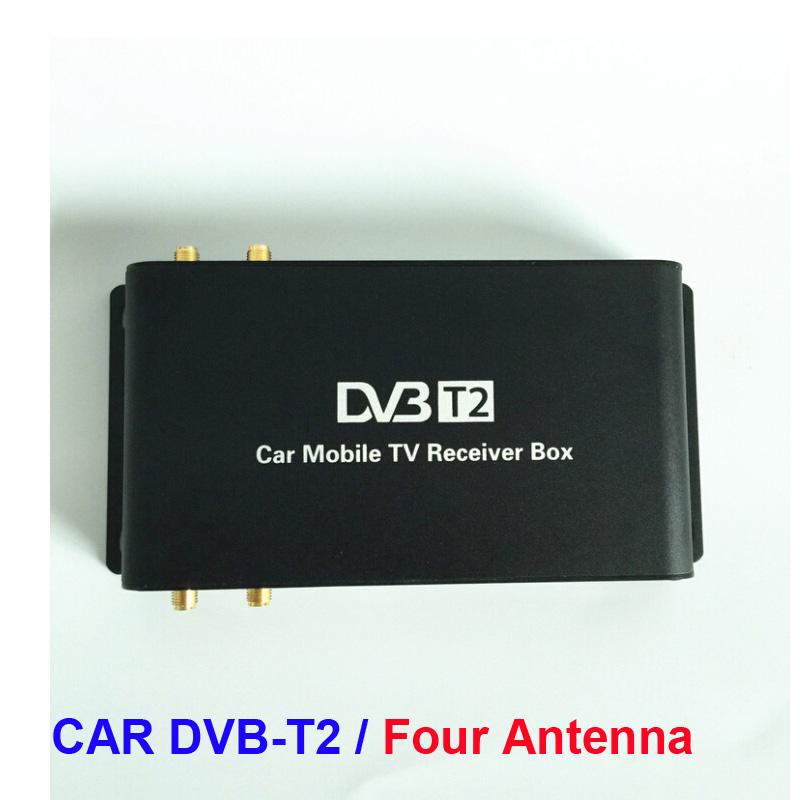 free shipping Newest 4 Tuner Car DVB-T2 Tuner Digital Car Tv Tuner MPEG4 Car mobile digital DVB T2 Receiver For car monitor(China (Mainland))