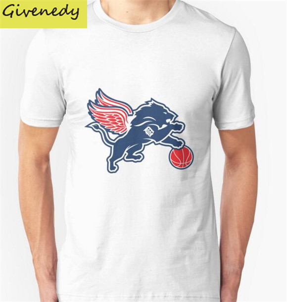 2016 new Summer O Neck T-shirt detroit tigers lions logo Men Clothing Short sleeved T Shirt Casual Fashion Fitness Top Tee(China (Mainland))