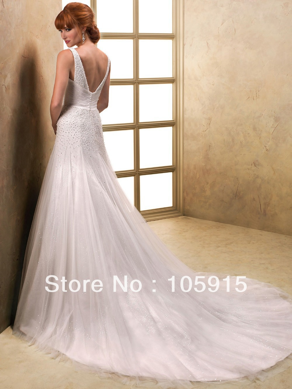 Low Back Wedding Dress With Veil : Tailor madenoble luxury crystal buttons v neck and back