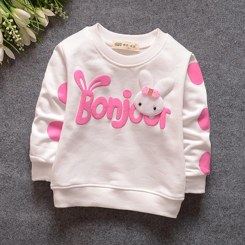 Spring Children's clothing baby girls t-shirt rabbit long sleeve cotton kids t-shirt girls tops baby outfits cute clotthing 2016