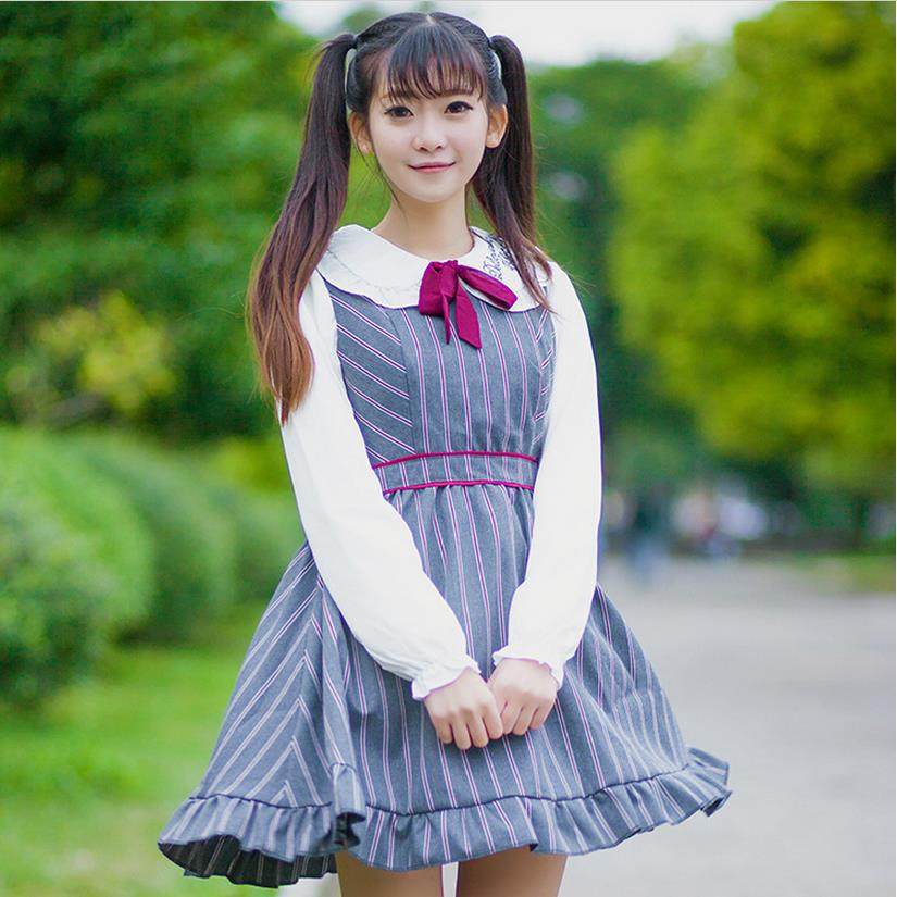 College Style 2016 lolita cute sister Department of Japanese fresh red gray striped uniforms vintage lace vest dress w339(China (Mainland))