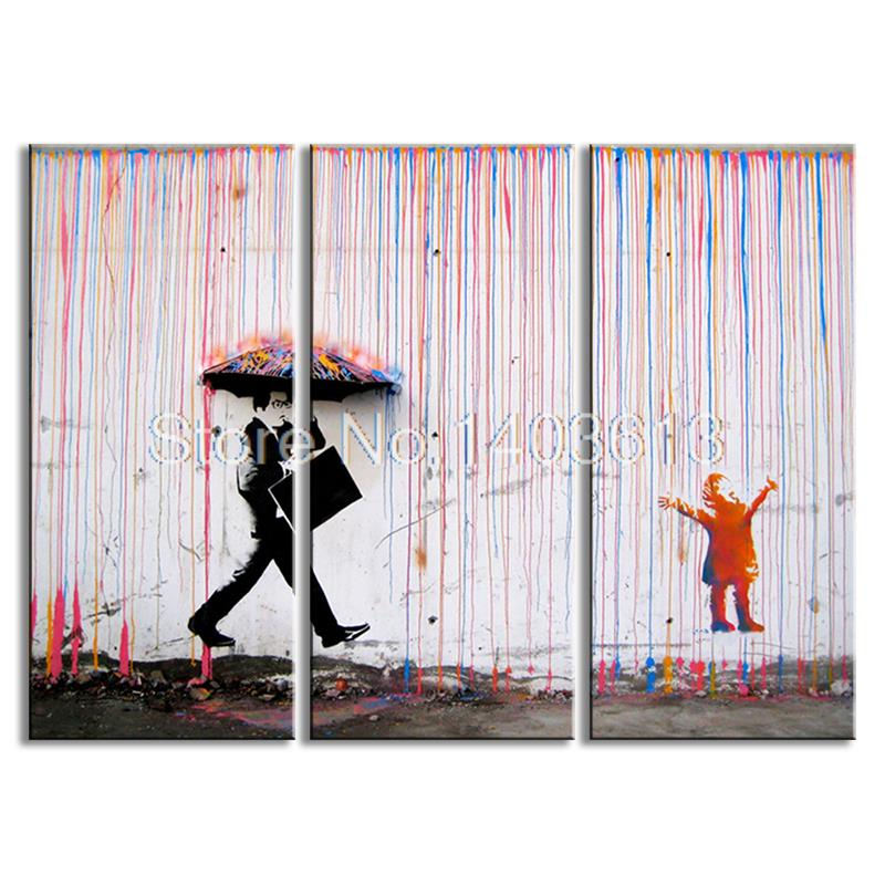 3 Pictures Banksy Art Colorful Rain Painting On Canvas Graffiti art Picture For Wall Decoration(China (Mainland))