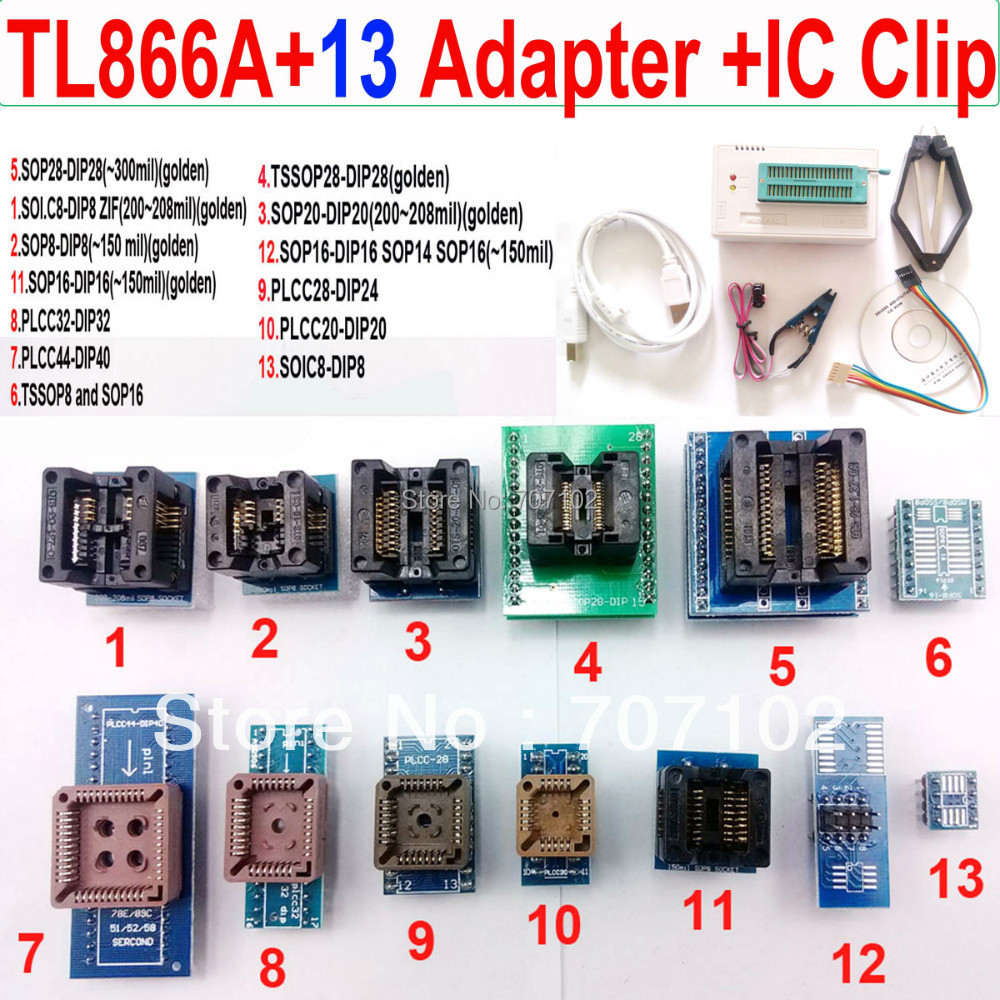 TL866a programmer +13 adapters+ IC CLIP High speed TL866 PLCC AVR PIC Bios 51 MCU Flash EPROM Programmer Russian English manual(China (Mainland))