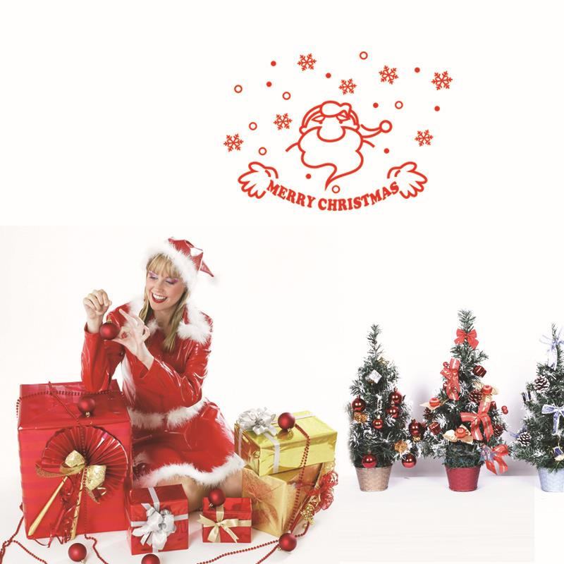 Best Selling Christmas Decorations Vinyl Wall Window Stickers Santa Claus Decals Gift mas18(China (Mainland))