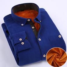 2015 new men's corduroy shirt long sleeve Shirt  padded winter men's warm shirts plus-size M-5XL,5 color(China (Mainland))