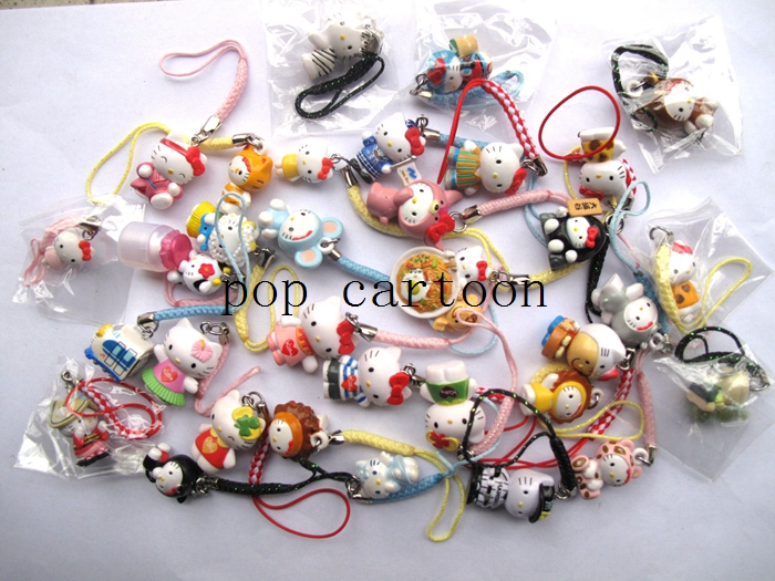 Free Shipping Mixed 100 PCS Hello Kitty Cartoon Action Figures Cell Phone Strap Charms For Best Gifts EX32(China (Mainland))