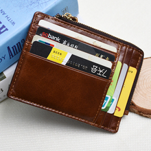 Buy 2017 new men credit card holder genuine leather coin pocket slim ID business card holder vintage brown cow leather zipper purse for $3.90 in AliExpress store