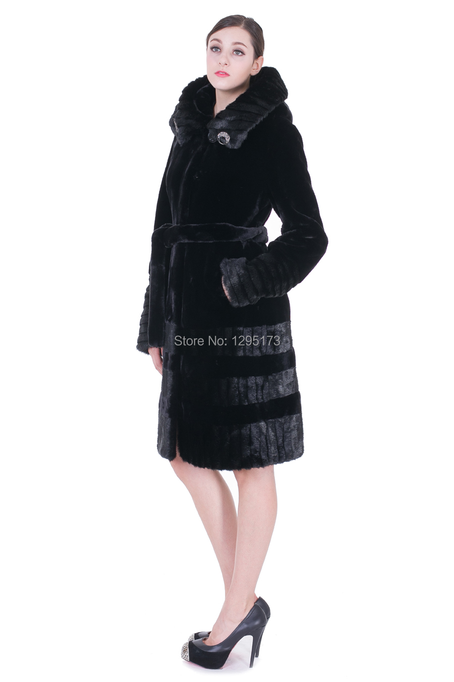 2014 new Black faux mink cashmere with light black mink fur women knee-length coat free shipping(China (Mainland))