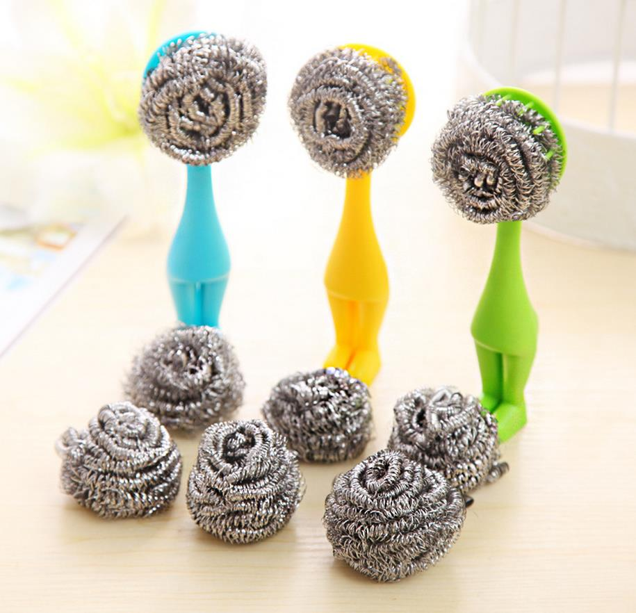 Hot Sale Stainless Steel Scourer Vertical Villain Pan Pot Brush with Plastic Handle Kitchen Heavy Duty Cleaning (Two for Refill)(China (Mainland))