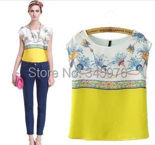 2014 Brand design Women fresh floral print blouse elegant za women silk 0-neck shirt color matching casual loose blusas(China (Mainland))