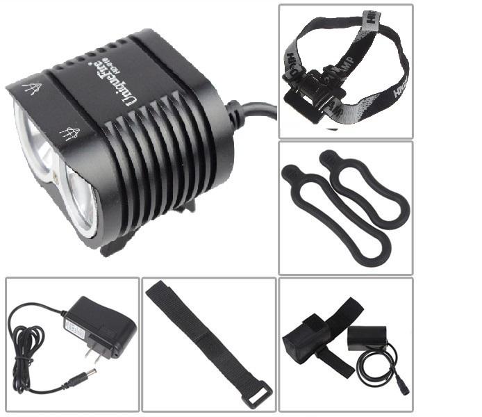 UniqueFire 4000 lumens 2x CREE XM-L2 LED Bicycle Light Bike headlamp With Waterproof 8.4v 8800mAh Battery pack & headstrap(China (Mainland))