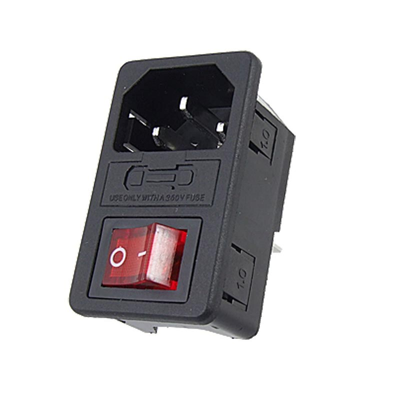 HIGH QUALITY Red Light Power Rocker Switch Fused IEC 320 C14 Inlet Power Socket Fuse Switch Connector Plug 10A 250V B2C(China (Mainland))