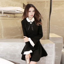 Hot sale women dress 2015 new fashion Korean silm fit casual winter dresses bow tie Lapel(China (Mainland))