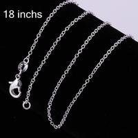 Factory Price Wholesale Fashion Jewelry, 925 Sterling Silver 1mm 18 Inch Link Chains Necklaces,Chains for Pendant ##010