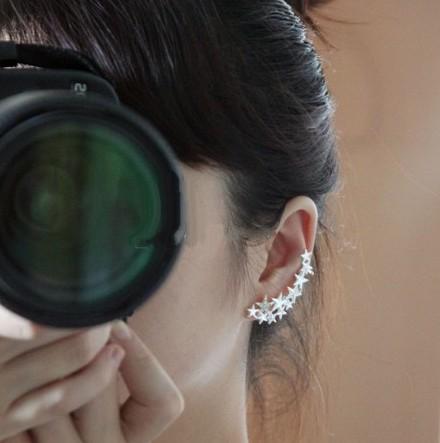 Wholesale 2015 hot New Korea brand fashion jewelry star ear cuff clip on earrings for women E0291(China (Mainland))