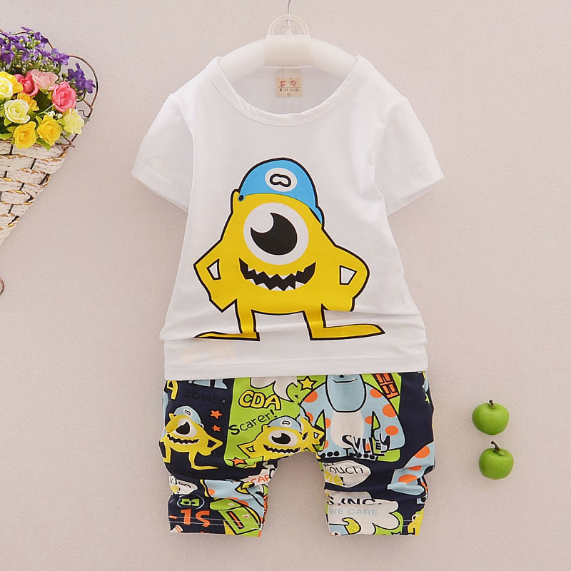 2015 New Summer Baby Boys Monsters University Cartoon Clothing Sets Cotton Brand Kids Suits Baby Boy Cheap Clothes For Children(China (Mainland))