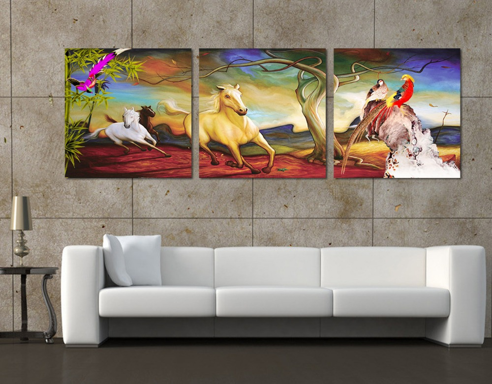 hot Hot Sell New Fashion Free Shipping 3 Pieces Wall Painting of Horse Home Decor Art Picture Paint on Canvas Print 50*50cm 14-(China (Mainland))