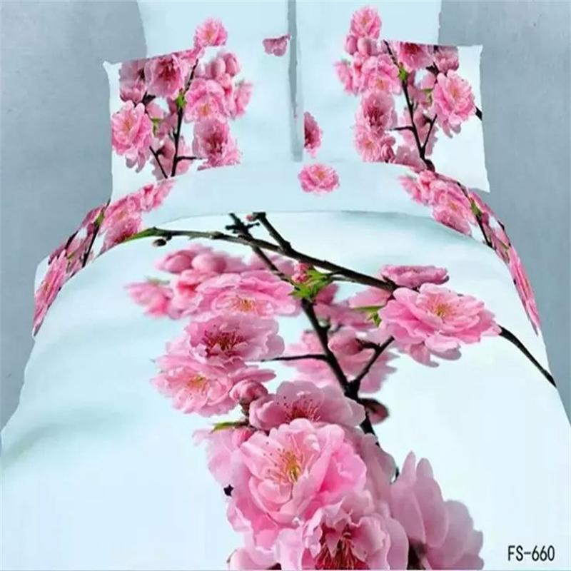Pink Flower 3D Cherry Blossom Pale Turquoise Bedding Set Queen Size 100% Cotton Fabric Duvet Cover Set Pillow Case Bed Sheet(China (Mainland))