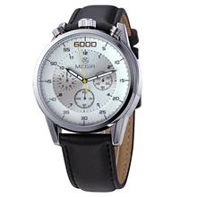 Real MEGIR correa de cuero de lujo analógico relojes de hombre reloj de cuarzo resistente de agua del cronógrafo 6 mano 24 horas Relogio Masculino