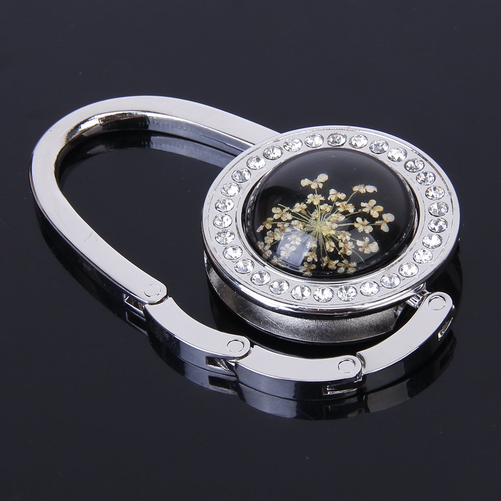 Boutique Pressed-Flower Pattern Round Rhinestone Handbag Folding Hanger Hook(China (Mainland))