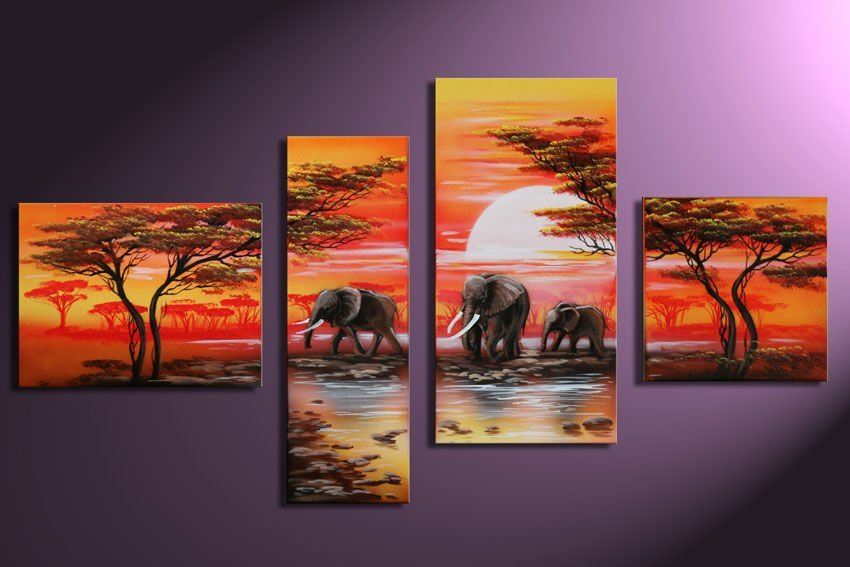 100 hand painted discount 4 panel african canvas art framed wall art decoration home high