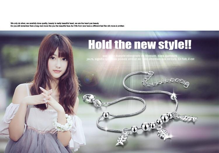 Горячий стиль! Женщины 925 чистого серебра ножной браслет ; корея ювелирные изделия ; корейского горячего регулируемая ножной браслет ; праздник предметы первой необходимости ;