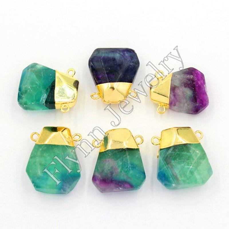 Natural Fluorite Amethyst Crystal Precious Gem Stone Different Reiki Pendulum Pendant Charms Healing Chakra  Fashion Jewelry 10X