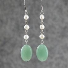 Natural aventurine jade earrings national design trend long tassel earring drop earrings(China (Mainland))
